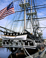 Clipper Ship And Antique War Vessel, Old Ironsides, The U.S.S. Constitution In Boston Harbor, Massachusetts