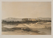 General View of Karnak, Egypt from Egypt and Nubia, Volume II: Karnak, 1847. Louis Haghe (British, 1806-1885), F.G.Moon, 20 Threadneedle Street, London, after David Roberts (British, 1796-1864). Color lithograph; sheet: 60.3 x 43.6 cm (23 3/4 x 17 3/16 in.); image: 48.8 x 32.7 cm (19 3/16 x 12 7/8 in.).