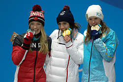 February 12, 2018 - Pyeongchang, South Korea - JUSTINE DUFOR-LAPOINTE of Canada , PERRINE LAFFONT of France and YULIA GALYSHEVA of Kazakhstan with their medals from the Ladies's Moguls event in the PyeongChang Olympic games. (Credit Image: © Christopher Levy via ZUMA Wire)