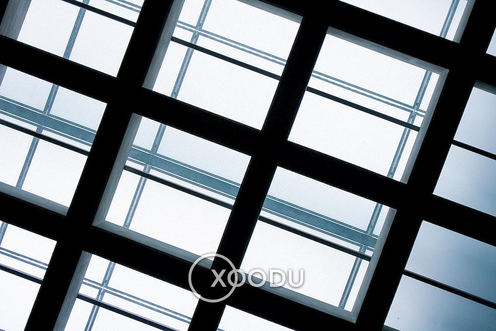 Bright ceiling window grid (Athens, Greece - Jun. 2008) (Image ID: 080620-1108161a)