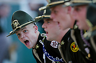 Members of the Corps of Cadets at Texas A&M University in College Station, Texas are shown before a home football game at Kyle Field.