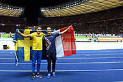 Renaud Lavillenie (FRA) win the Bronze Medal and Armand Duplantis (SWE) win the Gold Medal in Pole Vault Men during the European Championships 2018, at Olympic Stadium in Berlin, Germany, Day 6, on August 12, 2018 - Photo Julien Crosnier / KMSP / ProSportsImages / DPPI