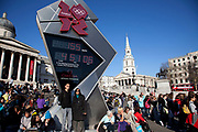 Olympic countdown clock in Trafalgar Square. This tall stainless steel clock has become a focus for the summer games as people look forward to the 2012 Olympics. London, England, UK.