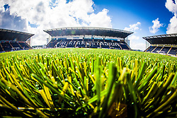 A landscape view of the new plastic pitch at The Falkirk Stadium, for the Scottish Championship game v Morton. The woven GreenFields MX synthetic turf and the surface has been specifically designed for football with 50mm tufts compared with the longer 65mm which has been used for mixed football and rugby uses.  It is fully FFA two star compliant and conforms to rules laid out by the SPL and SFL.<br /> ©Michael Schofield.