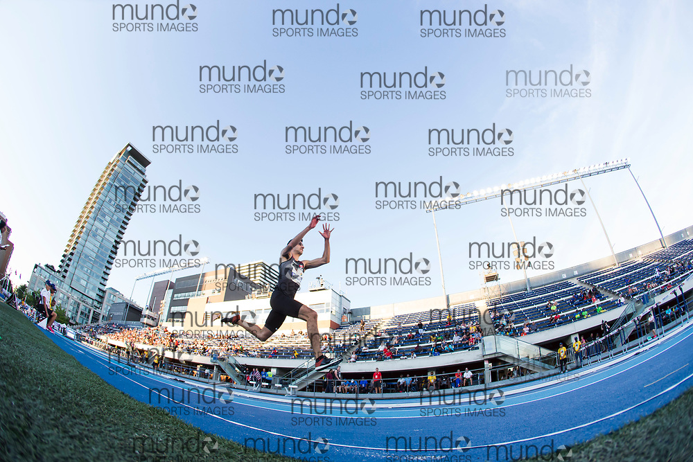Toronto, ON -- 10 August 2018: Patrick Hanna (Canada), triple jump at the 2018 North America, Central America, and Caribbean Athletics Association (NACAC) Track and Field Championships held at Varsity Stadium, Toronto, Canada. (Photo by Sean Burges / Mundo Sport Images).