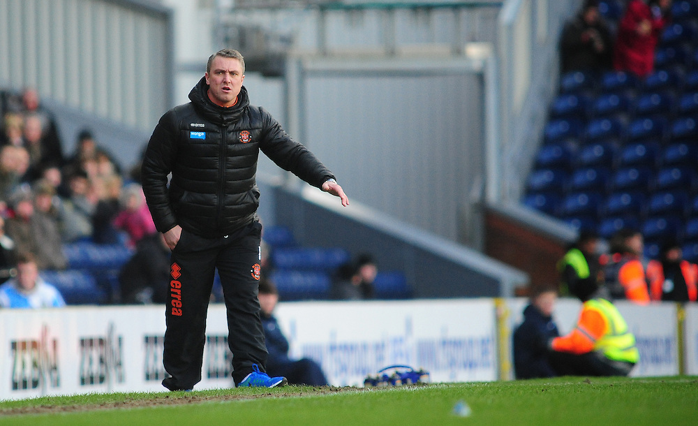 Blackpool manager Lee Clark shouts instructions to his team from the dug-out<br /> <br /> Photographer Chris Vaughan/CameraSport<br /> <br /> Football - The Football League Sky Bet Championship - Blackburn Rovers v Blackpool - Saturday 21st February 2015 - Ewood Park - Blackburn<br /> <br /> © CameraSport - 43 Linden Ave. Countesthorpe. Leicester. England. LE8 5PG - Tel: +44 (0) 116 277 4147 - admin@camerasport.com - www.camerasport.com