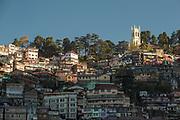 Low angle view of Shimla town, Himachal Pradesh, India