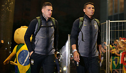 June 25, 2018 - Moscou, Rússia - MOSCOU, MO - 25.06.2018: ARRIVAL OF THE SELECTION IN MOSCOW - Goalkeeper Ederson and defender Thiago Silva arrive at the Renaissence Monarch hotel, where they will be based in Moscow, Russia. (Credit Image: © Marcelo Machado De Melo/Fotoarena via ZUMA Press)