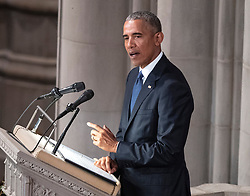 Former United States President Barack Obama speaks at the funeral service for the late US Senator John S. McCain, III (Republican of Arizona) at the Washington National Cathedral in Washington, DC on Saturday, September 1, 2018. Credit: Ron Sachs / CNP (RESTRICTION: NO New York or New Jersey Newspapers or newspapers within a 75 mile radius of New York City). 01 Sep 2018 Pictured: Former United States President Barack Obama speaks at the funeral service for the late US Senator John S. McCain, III (Republican of Arizona) at the Washington National Cathedral in Washington, DC on Saturday, September 1, 2018. Credit: Ron Sachs / CNP (RESTRICTION: NO New York or New Jersey Newspapers or newspapers within a 75 mile radius of New York City). Photo credit: Ron Sachs - CNP / MEGA TheMegaAgency.com +1 888 505 6342