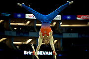 Brinn Bevan of Great Britain (GBR) on the Parallel bars during the iPro Sport World Cup of Gymnastics 2017 at the O2 Arena, London, United Kingdom on 8 April 2017. Photo by Martin Cole.