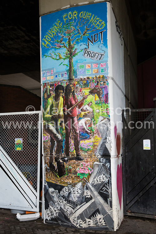 London, UK. 13 June, 2019. A mural underneath the Westway close to the Grenfell Tower in North Kensington. Tomorrow, the Grenfell community will mark the second anniversary of the Grenfell Tower fire on 14th June 2017 in which 72 people died and over 70 were injured. Two years on, some family members remain in temporary accommodation and many are still traumatised. Phase 2 of the Grenfell Inquiry will begin in 2020, with criminal investigation findings expected to be sent to the Crown Prosecution Service in 2021.