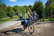 A group of cyclists on electric bikes turn into Hush Heath Winery as part of their tour in Staplehurst, Kent, England, UK.  (photo by Andrew Aitchison / In pictures via Getty Images)