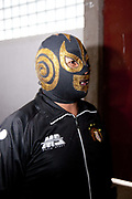 Male wrestler in mask. Lucha Libre wrestling origniated in Mexico, but is popular in other latin Amercian countries, including in La Paz / El Alto, Bolivia. Male and female fighters participate in the theatrical staged fights to an adoring crowd of locals and foreigners alike.