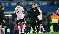 Football - 2019 / 2020 EFL Carabao (League) Cup - Quarter-Final: Everton vs. Leicester City<br /> <br /> Wes Morgan and Brendan Rodgers manager of Leicester City at Goodison Park.<br /> <br /> COLORSPORT/LYNNE CAMERON