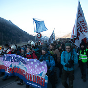 The second day of the Strike WEF march on Davos, 19th of January 2020, Switzerland. The march started in Schiers and walked the 24 kilomers to Klosters.  The aim is tofinish in Davos with a public meeting in the town on the day the WEF begins. The march is a three day protest against the World Economic Forum meeting in Davos. The activists want climate justice and think that The WEF is for the world's richest and political elite only.