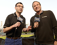CHICAGO - SEPTEMBER 24:  Chicago White Sox television play by play announcer Jason Benetti (L) and color analyst Steve Stone prepare for their broadcast prior to the game against the Cleveland Indians on September 24, 2019 at Guaranteed Rate Field in Chicago, Illinois.  (Photo by Ron Vesely)  Subject:   Jason Benetti; Steve Stone