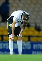 Port Vale's Chris Lines cuts a dejected figure at the end of the game as Port Vale lose 0 - 3 to Bristol City - Photo mandatory by-line: Dougie Allward/JMP - Mobile: 07966 386802 - 16/09/2014 - SPORT - FOOTBALL - Stoke-On-Trent - Vale Park - Port Vale v Bristol City - Sky Bet League One