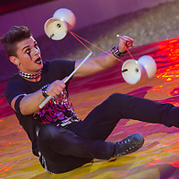 Artist Georgio performs with diablo during the premiere of the new show titled Lights of the Universe in Budapest, Hungary on October 05, 2013. ATTILA VOLGYI