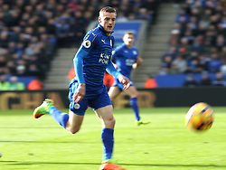 04 March 2017 Leicester : Premier League Football ; Leicester City v Hull City :<br /> Jamie Vardy of Leicester chases a through ball.<br /> Photo: Mark Leech