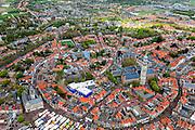Nederland, Zeeland, Walcheren, 09-05-2013; centrum Middelburg met toren Lange Jan en Nieuwe Kerk, markt op de Markt bij het Stadhuis.<br /> Capital of the province of Zealand. luchtfoto (toeslag op standard tarieven)<br /> aerial photo (additional fee required)<br /> copyright foto/photo Siebe Swart