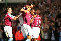 Photo: Frances Leader.<br />Fulham v West Ham. The Barlcays Premiership.<br />17/09/2005.<br />West Ham's Marlon Harewood celebrates his first goal against Fulham with an injured leg.
