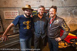 Revival Cycles Alan Stulberg (left) with Miguel Galuzzi (designer of the Ducati Monster and head of Piaggio's CA design center) and the Vintagent's Paul D'Orleans on Saturday in the Handbuilt Motorcycle Show. Austin, TX, USA. April 9, 2016.  Photography ©2016 Michael Lichter.
