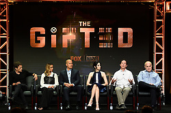 BEVERLY HILLS - AUGUST 8: cast members Stephen Moyer, Jamie Chung, Coby Bell and Emma Dumont, Executive Producer Matt Nix and Executive Producer Jeph Loeb onstage during the panel for 'The Gifted' at the FOX portion of the 2017 Summer TCA press tour at the Beverly Hilton on August 8, 2017 in Beverly Hills, California. (Photo by Frank Micelotta/Fox/PictureGroup) *** Please Use Credit from Credit Field ***