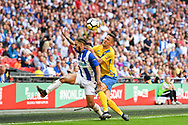 Jordan Brown of Thatcham Town (20) and James Risbrough of Stockton Town (11) battle for the ball during the FA Vase match between Stockton Town and Thatcham Town at Wembley Stadium, London, England on 20 May 2018. Picture by Stephen Wright