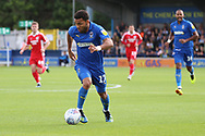 AFC Wimbledon striker Andy Barcham (17) dribbling during the EFL Sky Bet League 1 match between AFC Wimbledon and Scunthorpe United at the Cherry Red Records Stadium, Kingston, England on 15 September 2018.