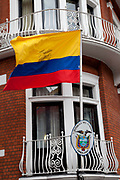 London, UK. Thursday 16th August 2012. Ecuadorian flag outside the Ecuador Embassy as information arrives that Julian Assange will be granted political asylum there.