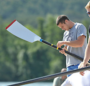 Banyoles, SPAIN,  GBR M8+, James FOAD adjusted the tape on the oar loom.  FISA World Cup Rd 1. Lake Banyoles  Thursday,  28/05/2009   [Mandatory Credit. Peter Spurrier/Intersport Images]