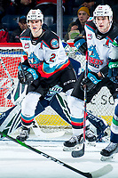KELOWNA, BC - MARCH 6:  Matthew Wedman #20 and  Dillon Hamaliuk #22 of the Kelowna Rockets look for the pass in front of the net of the Seattle Thunderbirds during second period at Prospera Place on March 6, 2020 in Kelowna, Canada. (Photo by Marissa Baecker/Shoot the Breeze)