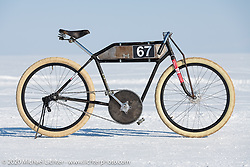Alexander Propovednik's bicycle as he set it up to ride on the ice in the Baikal Mile Ice Speed Festival. Maksimiha, Siberia, Russia. Friday, February 28, 2020. Photography ©2020 Michael Lichter.