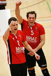 20180324 NED: Topdivisie Maatwerkers VCN - Next Volley Dordrecht, Capelle aan den IJssel <br />Lucas Vroom (2) of Maatwerkers VCN, Daan Spijkers (5) of Maatwerkers VCN <br />©2018-FotoHoogendoorn.nl / Pim Waslander