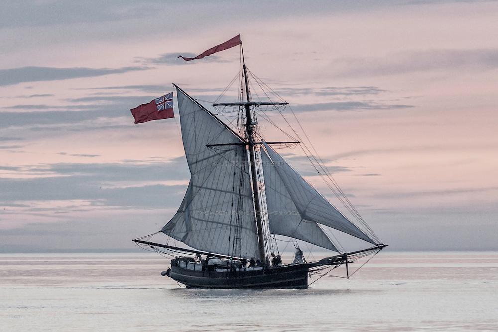 The sailing ship, Friends Good Will under full sail on Lake Michigan