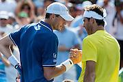 USA's John Isner congratulates Argentina's Juan Martin Del Potro after he won their men's final singles match at the Citi Open ATP tennis tournament in Washington, DC, USA, 4 Aug 2013. Del Potro won the final 3-6, 6-1, 6-2.