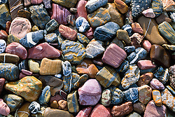 Colourful river rocks in the Peel Watershed