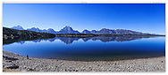 A perfect reflection of the Teton Range at Jackson Lake, Grand Teton National Park, Wyoming, USA