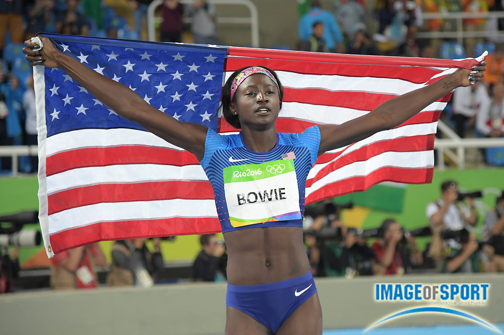 Aug 13, 2016; Rio de Janeiro, Brazil; Tori Bowie (USA) celebrates winning the silver medal in the women's 100m event at Estadio Olimpico Joao Havelange during the Rio 2016 Summer Olympic Games.