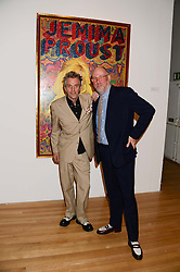 Left to right, KOSMO VINYL and JULES BALME curators of the exhibition at a private view of the late Ian Dury's artwork entitled Ian Dury: More Than Fair – Paintings, drawings and artworks, 1961–1972 held at the Royal College of Art, Kensington Gore, London SW7 on 22nd July 2013.