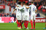 GOAL - Daniel Sturridge of England (9) celebrates with Wayne Rooney, the England captain  after scoring his sides 1st goal. FIFA World cup qualifying match, european group F, England v Malta at Wembley Stadium in London on Saturday 8th October 2016.<br /> pic by John Patrick Fletcher, Andrew Orchard sports photography.