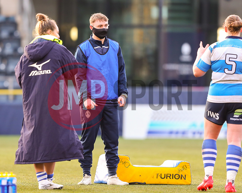 DMP Durham Sharks players and staff remain on the pitch at half time - Mandatory by-line: Nick Browning/JMP - 09/01/2021 - RUGBY - Sixways Stadium - Worcester, England - Worcester Warriors Women v DMP Durham Sharks - Allianz Premier 15s