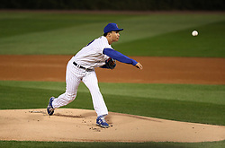September 14, 2017 - Chicago, IL, USA - Chicago Cubs starting pitcher Jen-Ho Tseng, making his major-league debut, works against the New York Mets in the first inning at Wrigley Field in Chicago on Thursday, Sept. 14, 2017. (Credit Image: © Chris Sweda/TNS via ZUMA Wire)