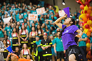 Milpitas High School seniors catch a marshmallow in a cone during the Marshmallow Toss contest during the annual Trojan Olympics, where students compete in various unorthodox events for class bragging rights, at Milpitas High School in Milpitas, California, on March 27, 2015. (Stan Olszewski/SOSKIphoto)