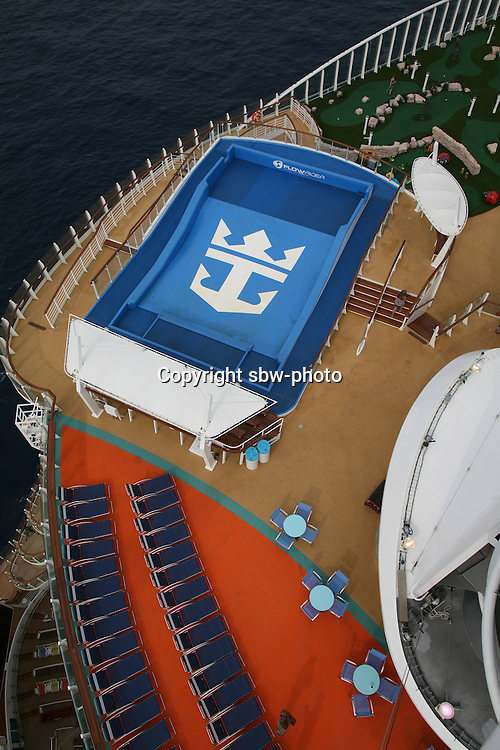 The launch of Royal Caribbean International's Oasis of the Seas, the worlds largest cruise ship..Aqua Theater shot from the pool deck