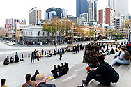 The steps of Parliament building begins to fill up prior to the start of the event on 06 June, 2020 in Melbourne, Australia. This event was organised to rally against aboriginal deaths in custody in Australia as well as in unity with protests across the United States following the killing of an unarmed black man George Floyd at the hands of a police officer in Minneapolis, Minnesota. (Photo by Mikko Robles/ Speed Media)
