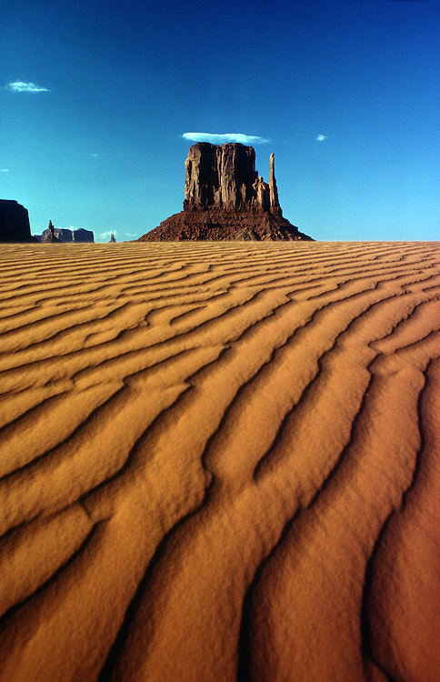 Sand and Butte, Monument Valley, Navajo Nation, Arizona, Utah