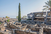 Israel, Sea of Galilee, Exterior of the Capernaum Catholic Church built over the house of Saint Peter