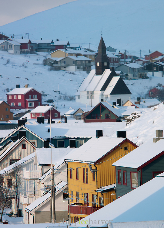 The town of Havoysund. Deliveries of supplies and transport from large cruise ships enable small communities like this to survive their isolation during winter. Havoysund is in the Finnmark region of northern Norway