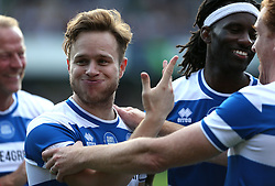 2 September 2017 - Charity Football - Game 4 Grenfell - Olly Murs pulls a funny face after scoring the winning penalty - Photo: Charlotte Wilson